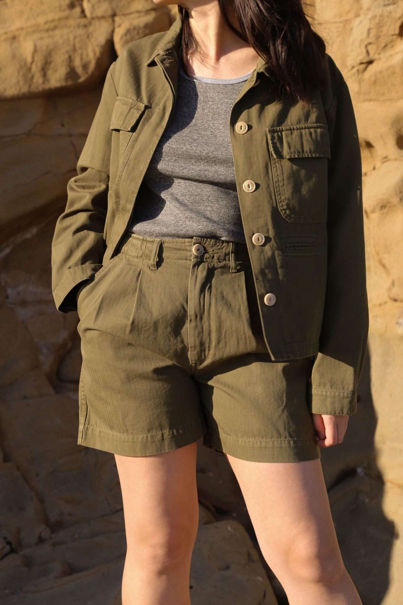 Girls of Dust Worker Jacket in Khaki HBT