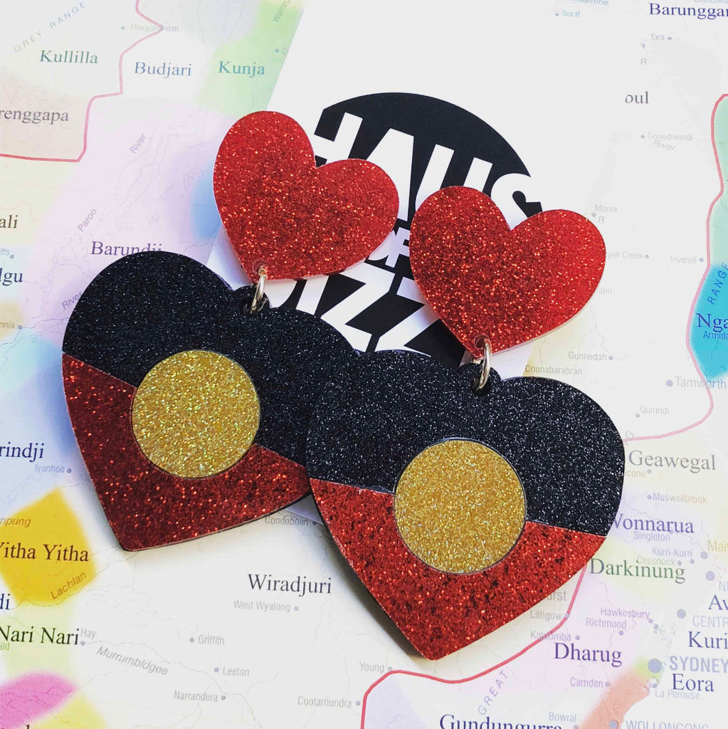 Indigenous Pride Glitter Heart Earrings