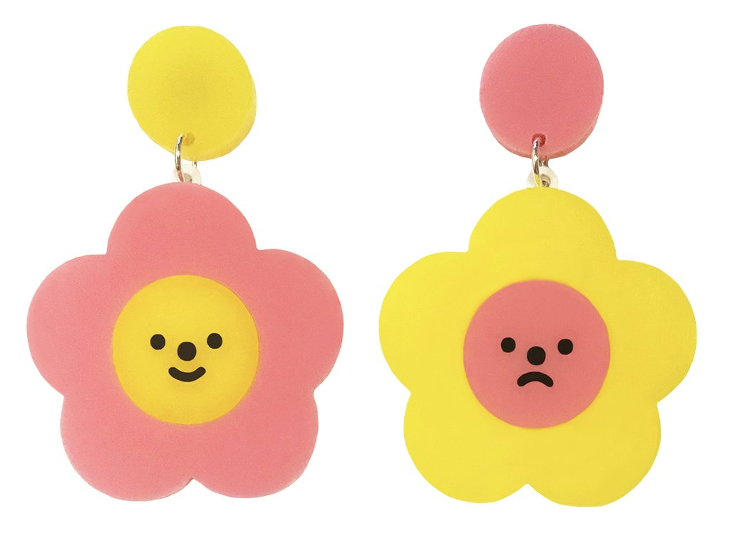 Happy Sad Flower Earrings