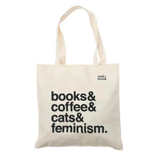 Books & Coffee & Cats & Feminism. | tote bag