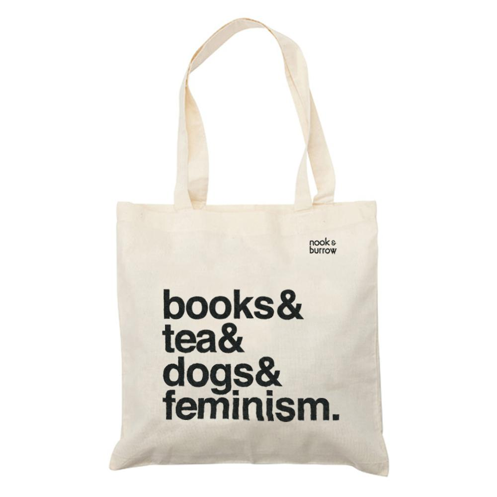 Books & Tea & Dogs & Feminism. | Tote Bag