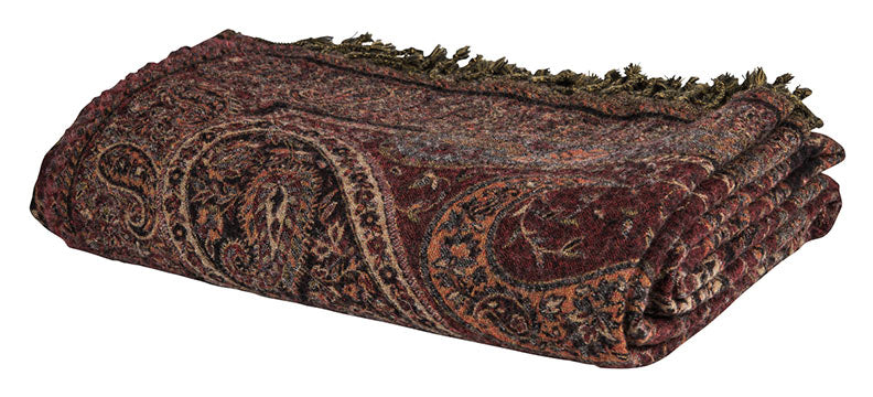 Woolen Blanket - Paisley - Brown
