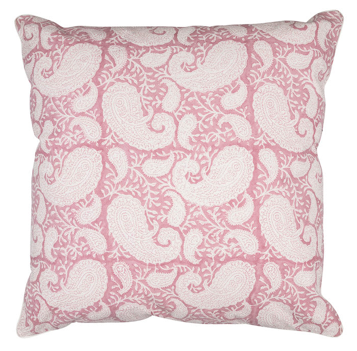 Pink and white cusion with a big paisley cover