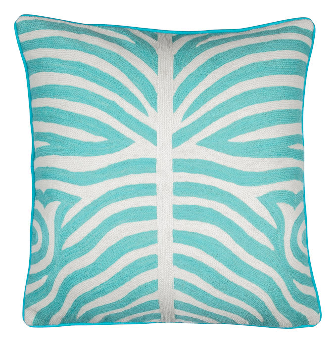 Front of Zebra cushion in turquoise color