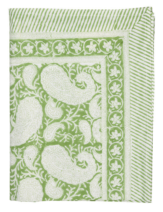 Tablecloth from Chamois, white with light green pattern