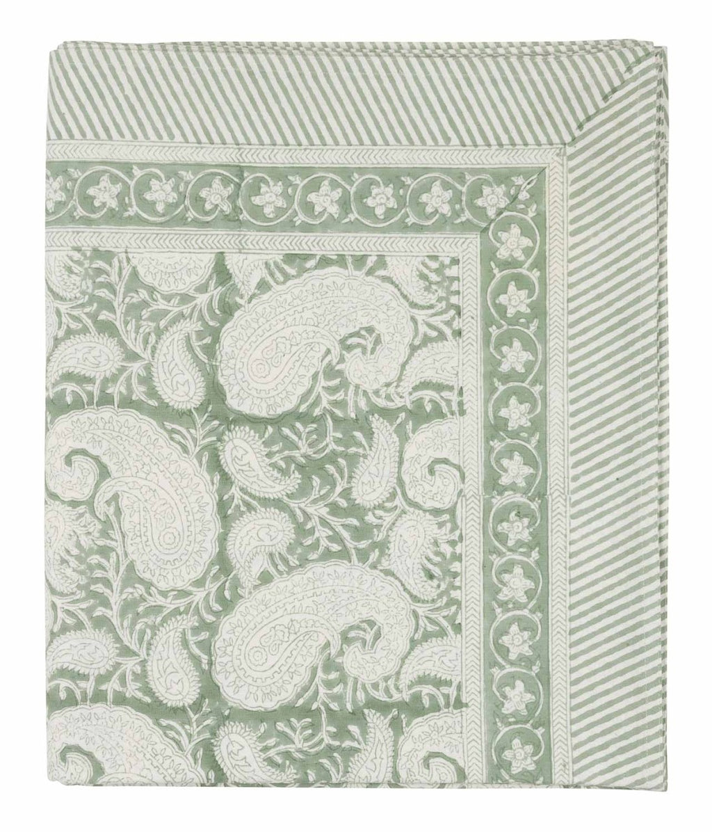 Tablecloth with a hand block printed Big Paisley pattern in Sea Foam