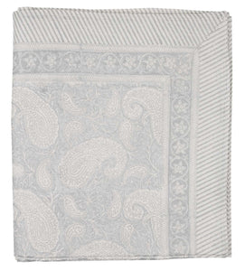 Tablecloth with a hand block printed Big Paisley pattern in Silver
