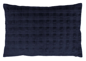 Velvet Cushion with Quilted Stitching in Midnight Blue