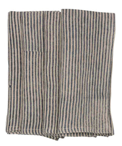 Linen Napkins with Dark Blue stripes