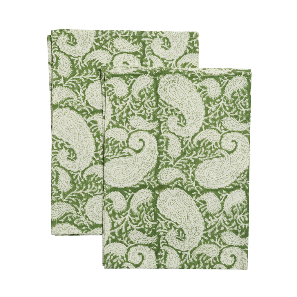 Big Paisley® kitchen towels in Forest Green