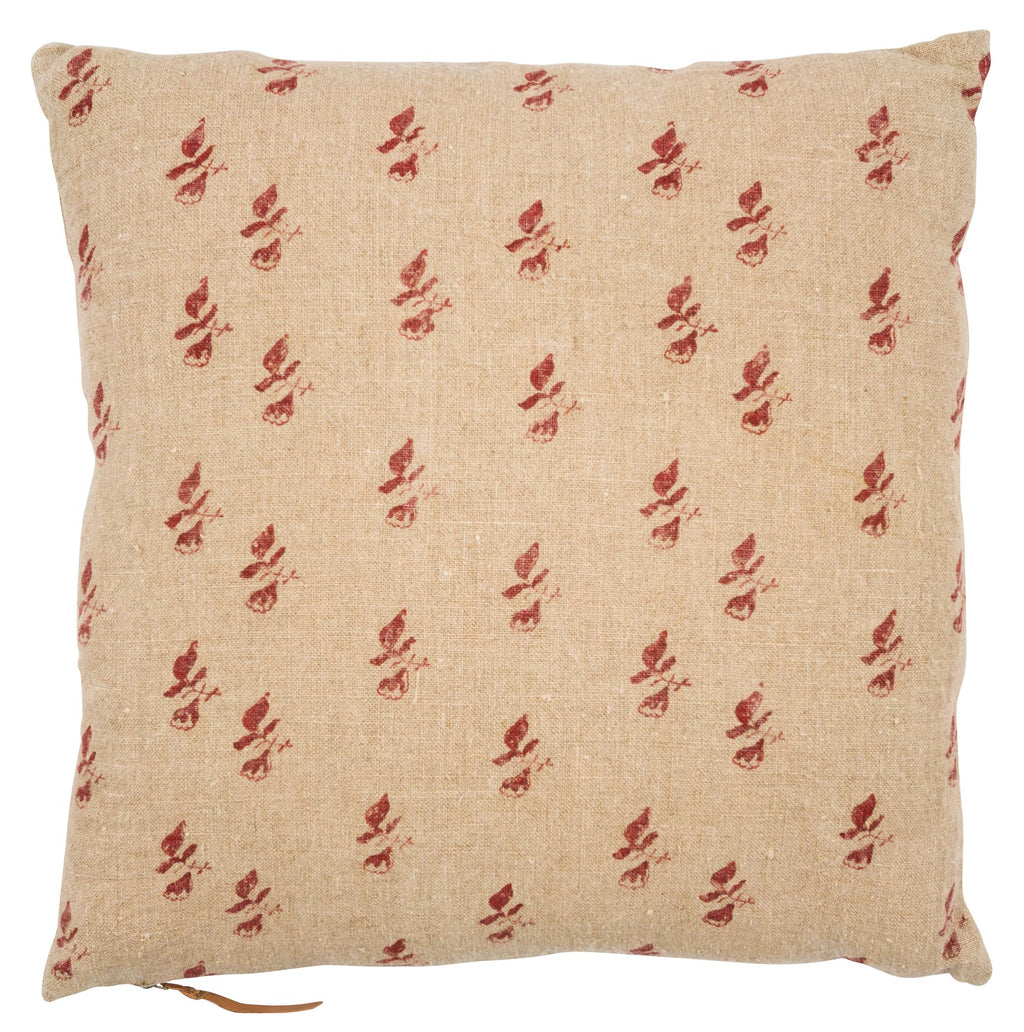 Linen Cushion with Bud print in Spicy Red