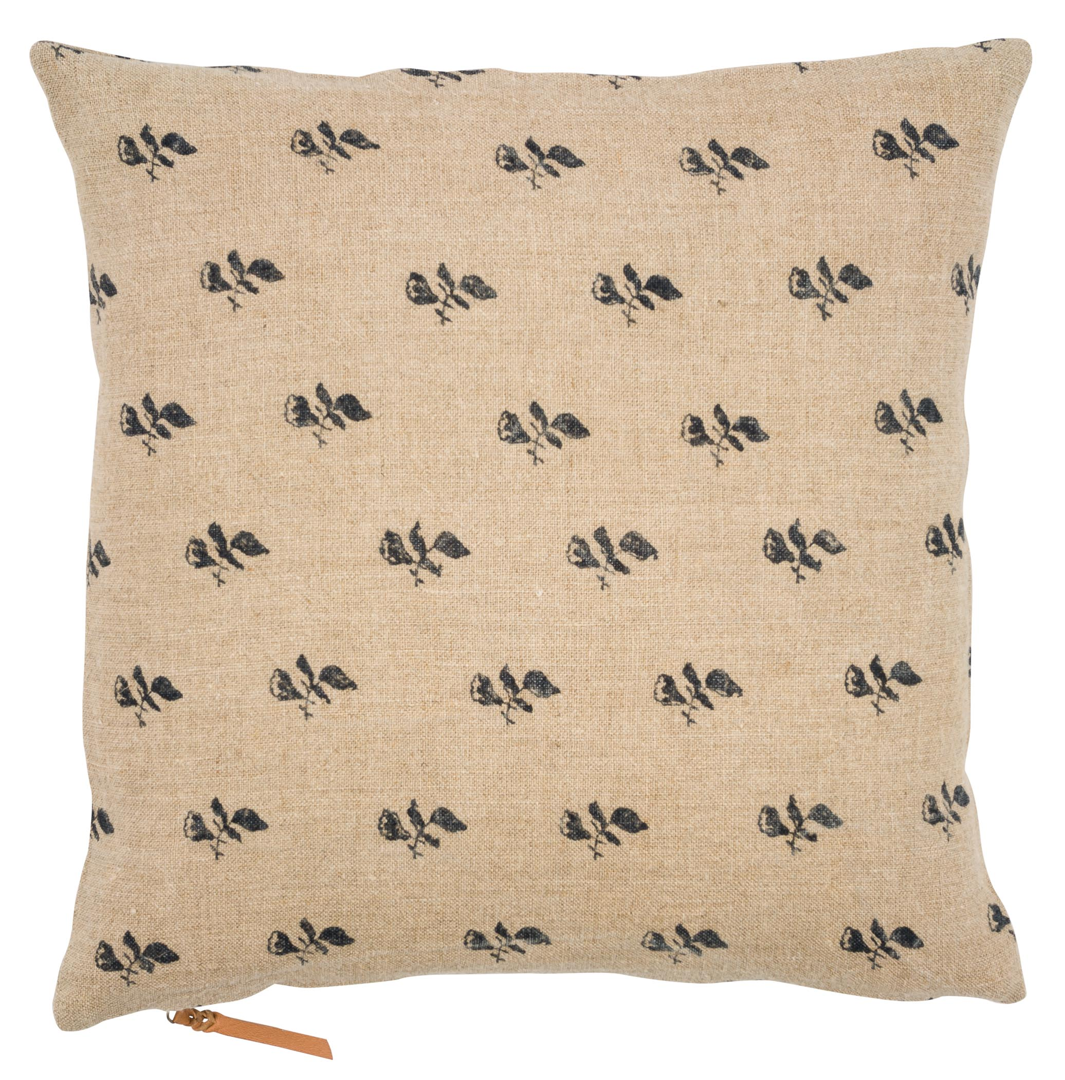 Linen Cushion with Bud print in Dark Blue