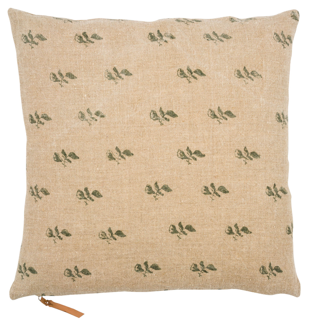 Linen Cushion with Bud print in Green