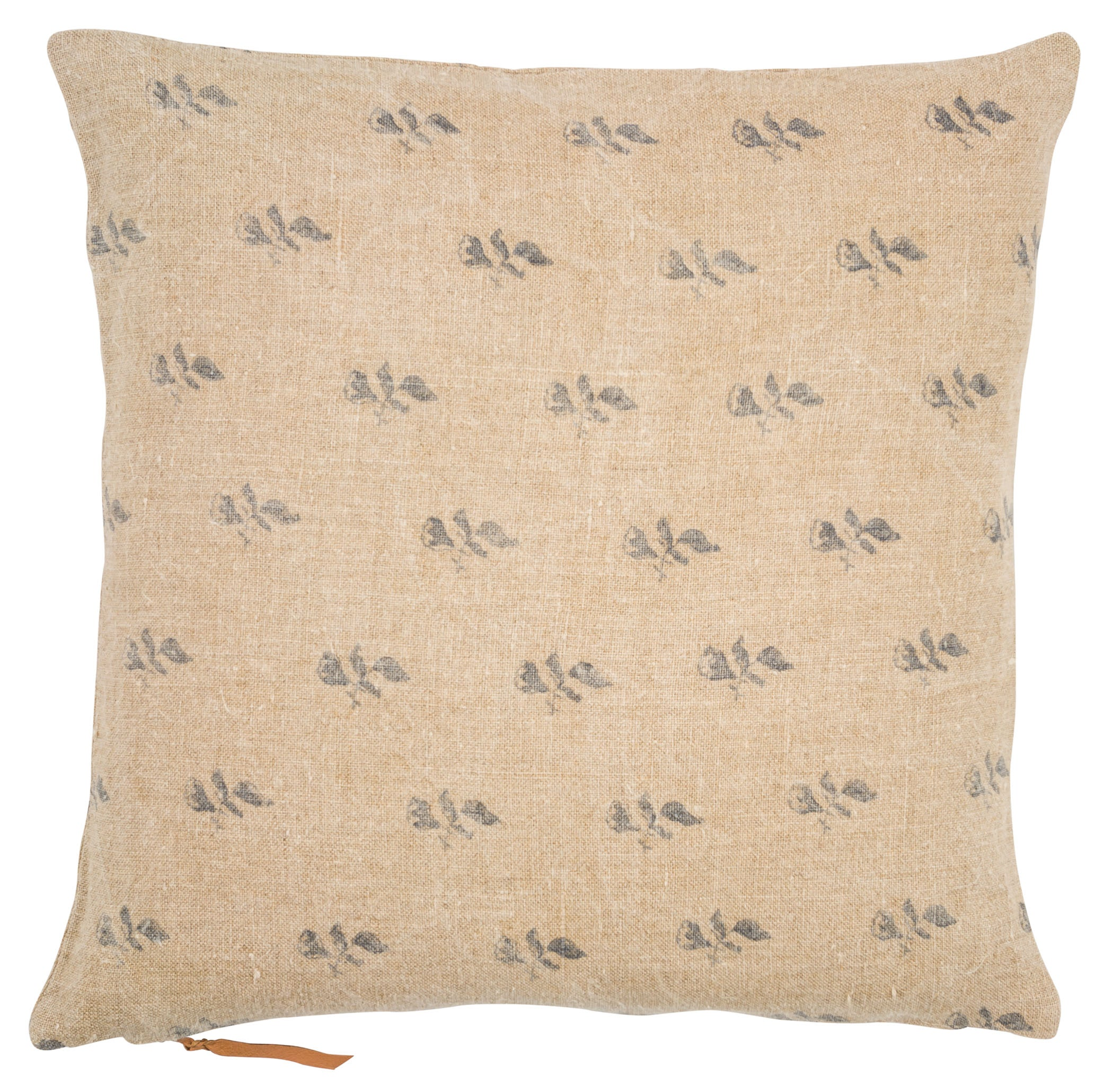 Linen Cushion with Bud print in Blue