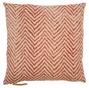 Linen Cushion with Chevron print in Spicy Red