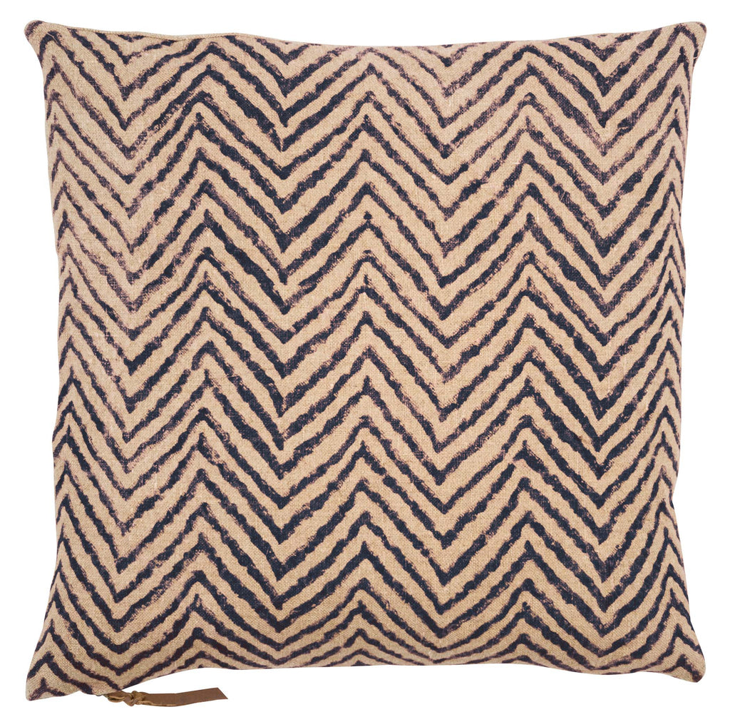 Linen Cushion with Chevron print in Dark Blue