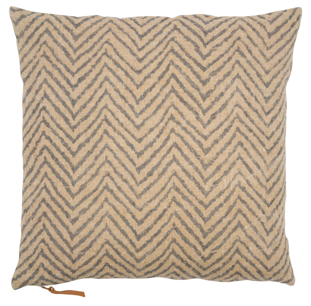 Linen Cushion with Chevron print in Blue