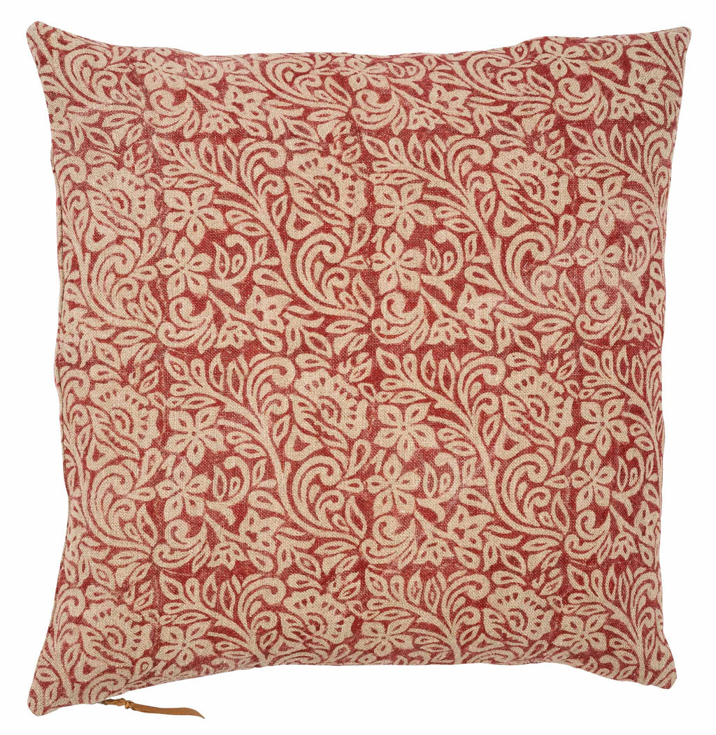 Linen Cushion with Jugend print in Spicy Red