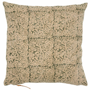 Linen Cushion with Jugend print in Green