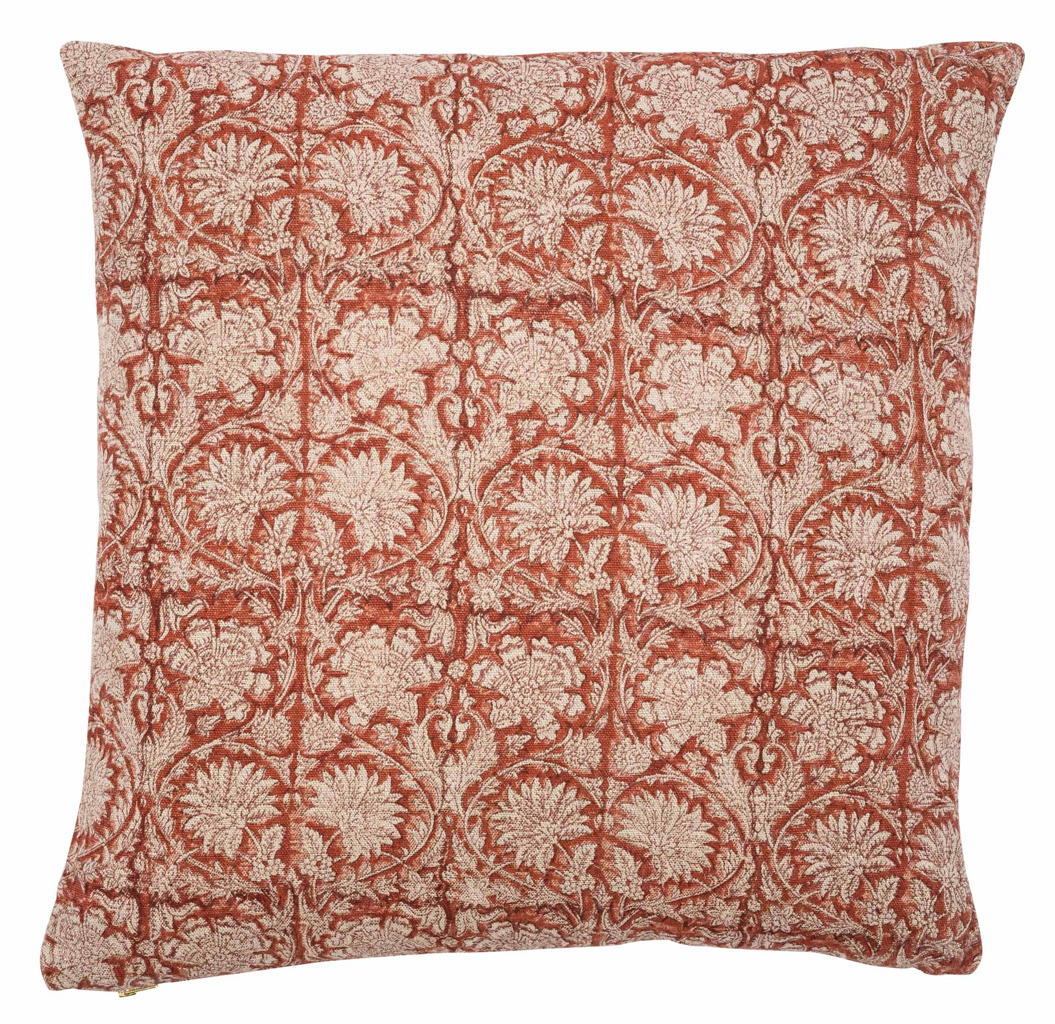 Linen cushion with Paradise print in Spicy Red