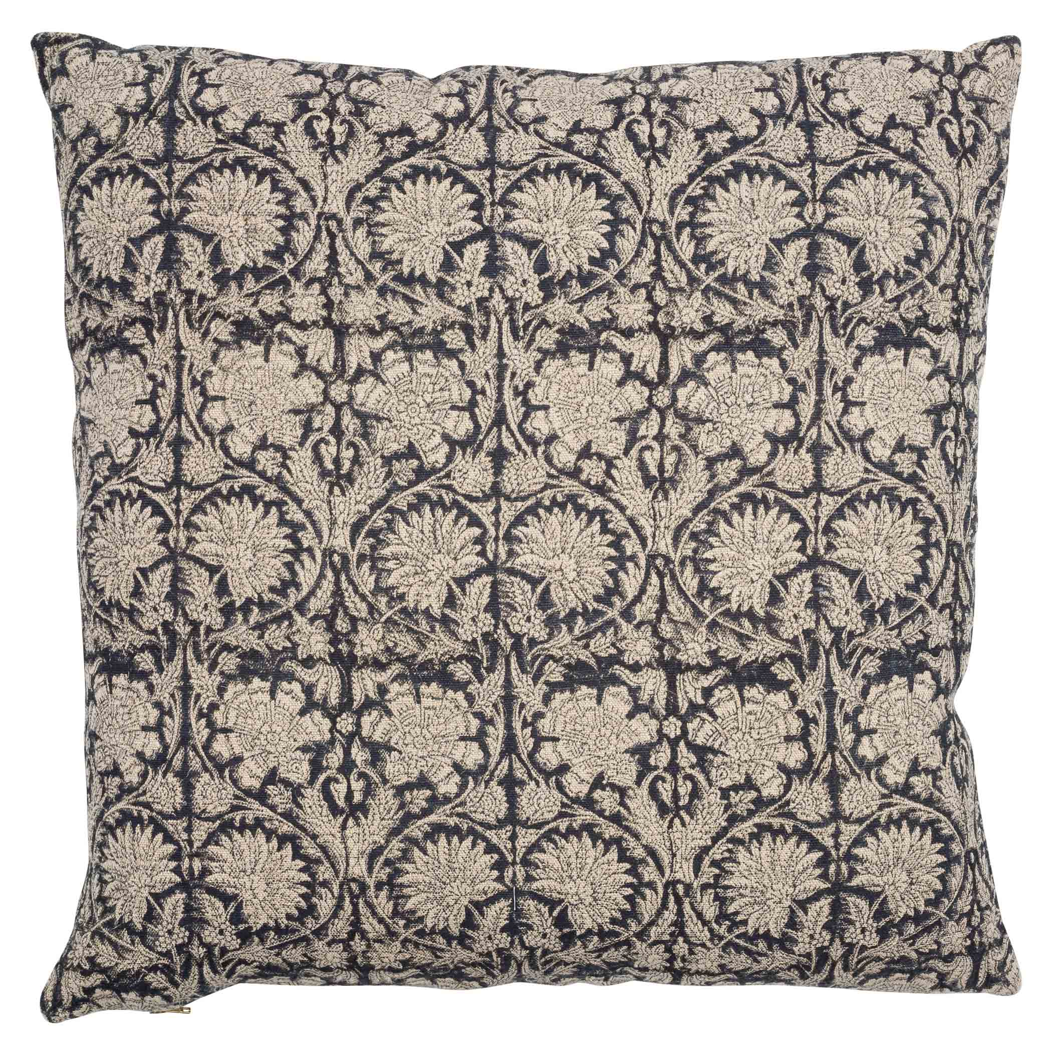 Paradise Linen Cushion in Dark Blue