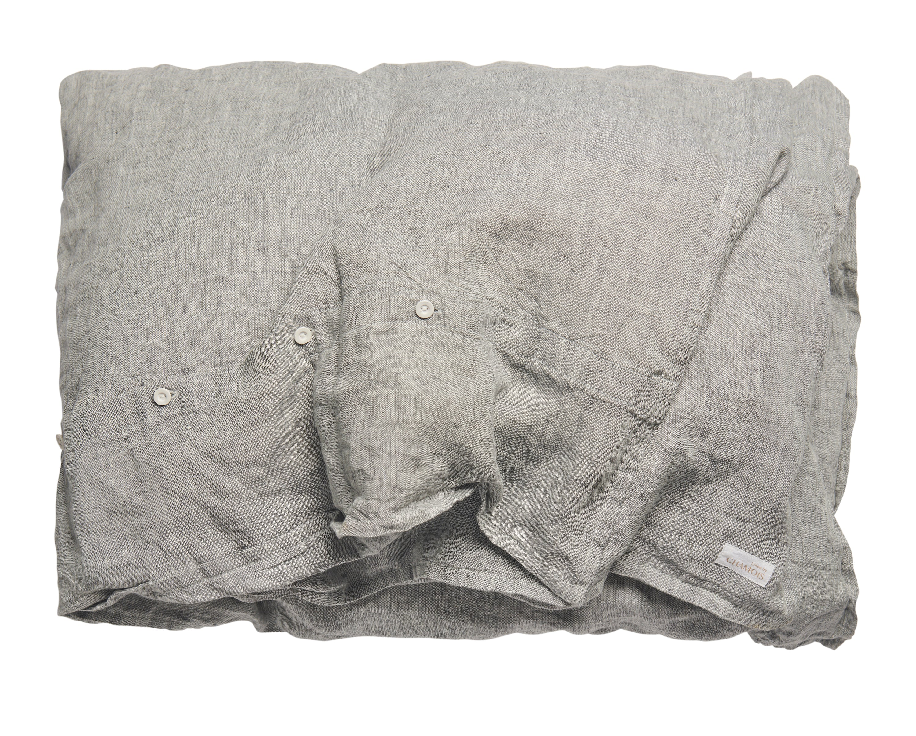 Linen Duvet Cover in Grey Chambray