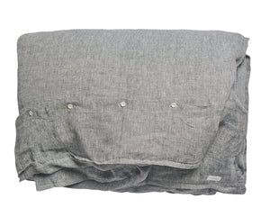 Linen Duvet Cover in Navy Blue Chambray