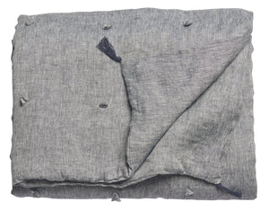 Quilted Throw - Chambray - Navy Blue