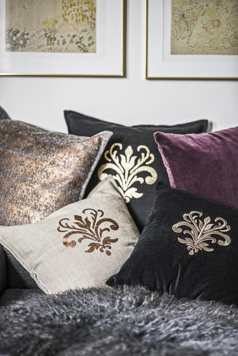 Cushion Cover - Chamois Lily Embroidery - Black Gold