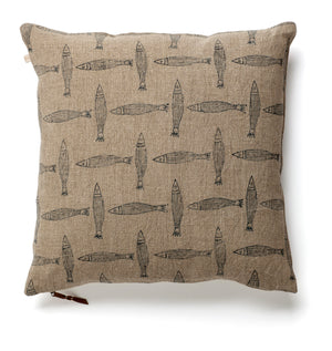 Linen Cushion with Fish print