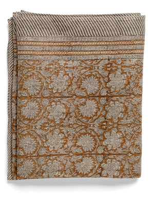 Linen tablecloth with Paradise print in Ochra