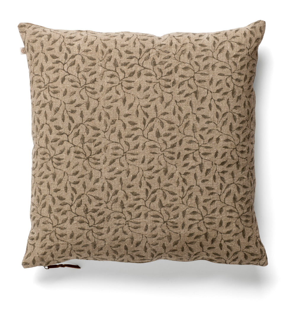 Linen Cushion with Leaf print in Steel Grey