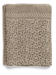 Linen tablecloth with Leaf print in Steel Grey