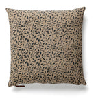 Linen Cushion with Leaf print in Dark Blue