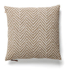 Linen Cushion with Chevron print in White