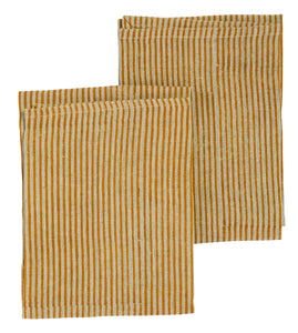 Linen kitchen towels with Ochra stripes