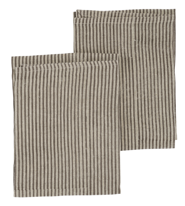 Linen kitchen towels with Steel Grey stripes