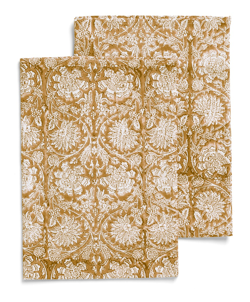 Kitchen towels with Paradise pattern in Lion Yellow