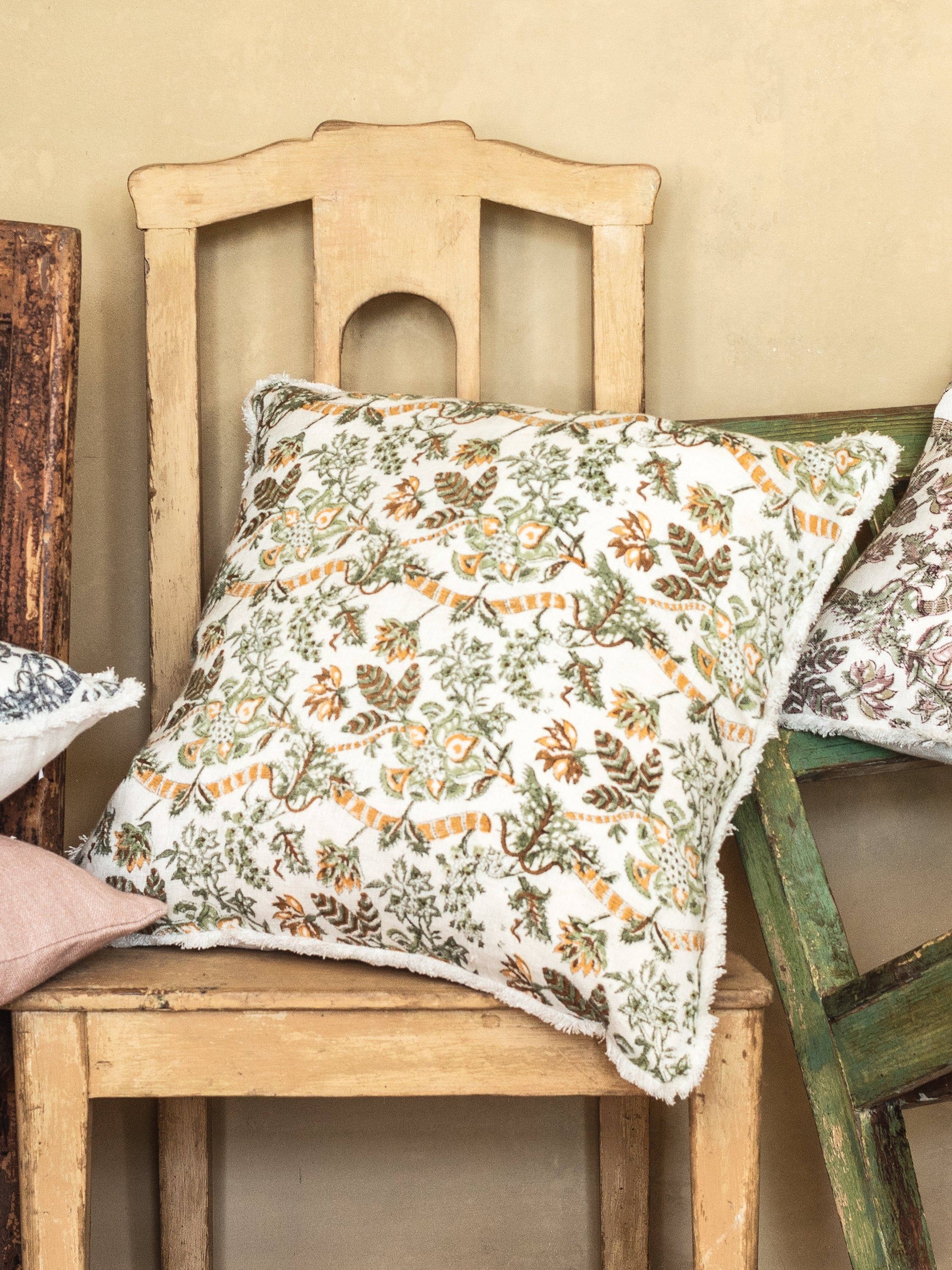 Linen cushion with Floral print in Ochre