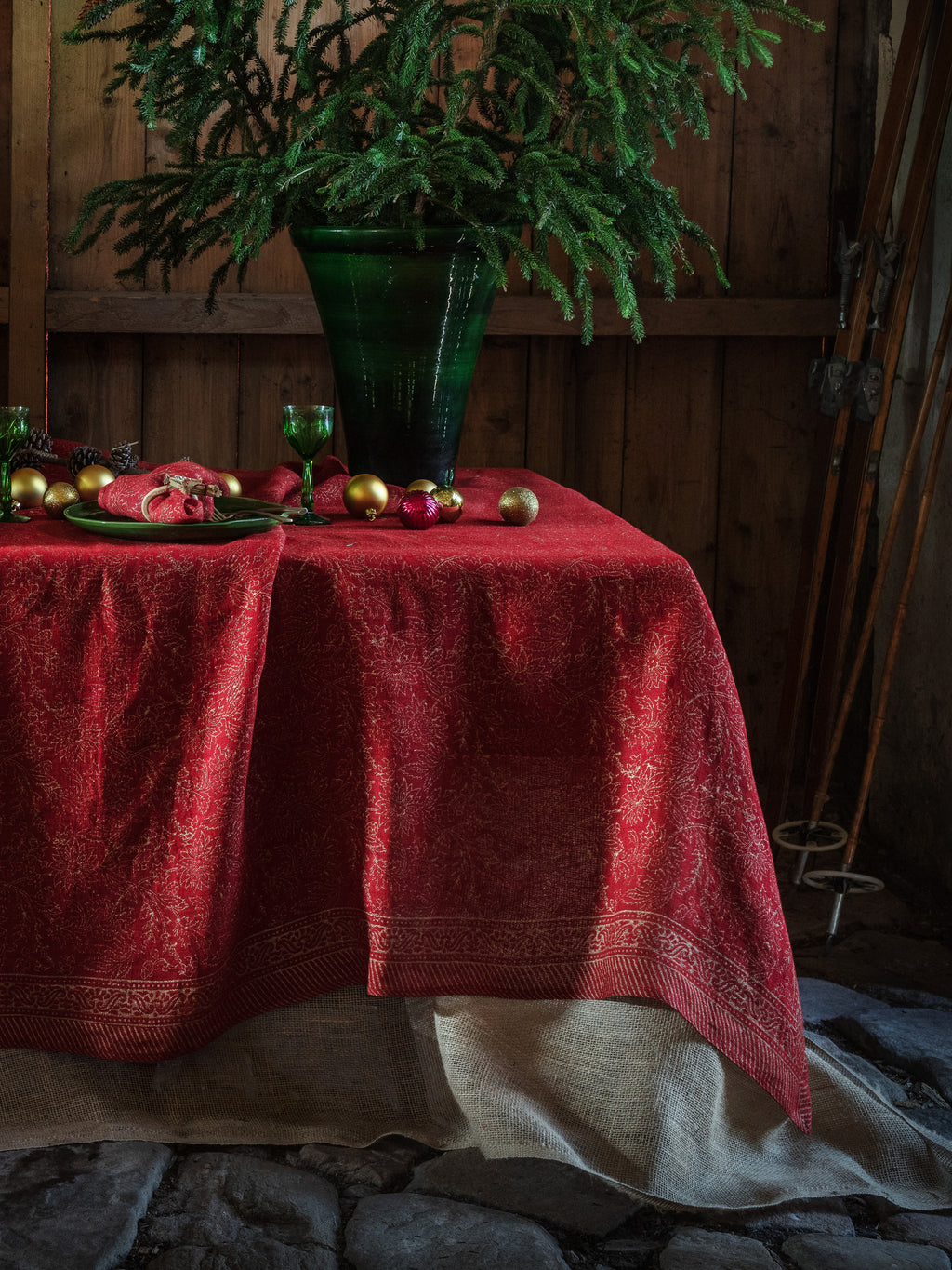 Red linen tablecloth with Gold print