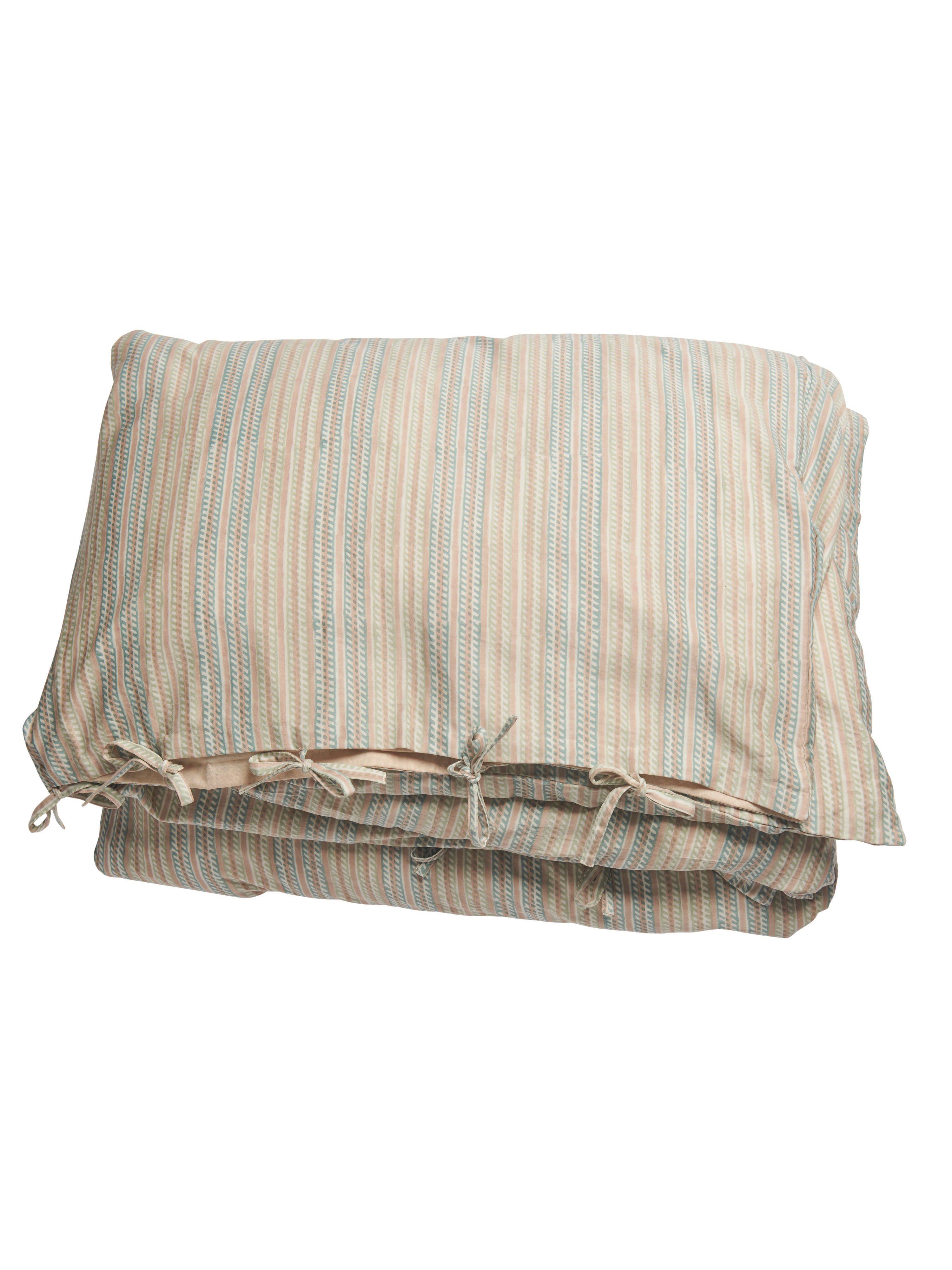 Bed set with Stripe print in Green & Beige