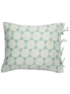 Pillowcases with City Palace print in Green & Beige