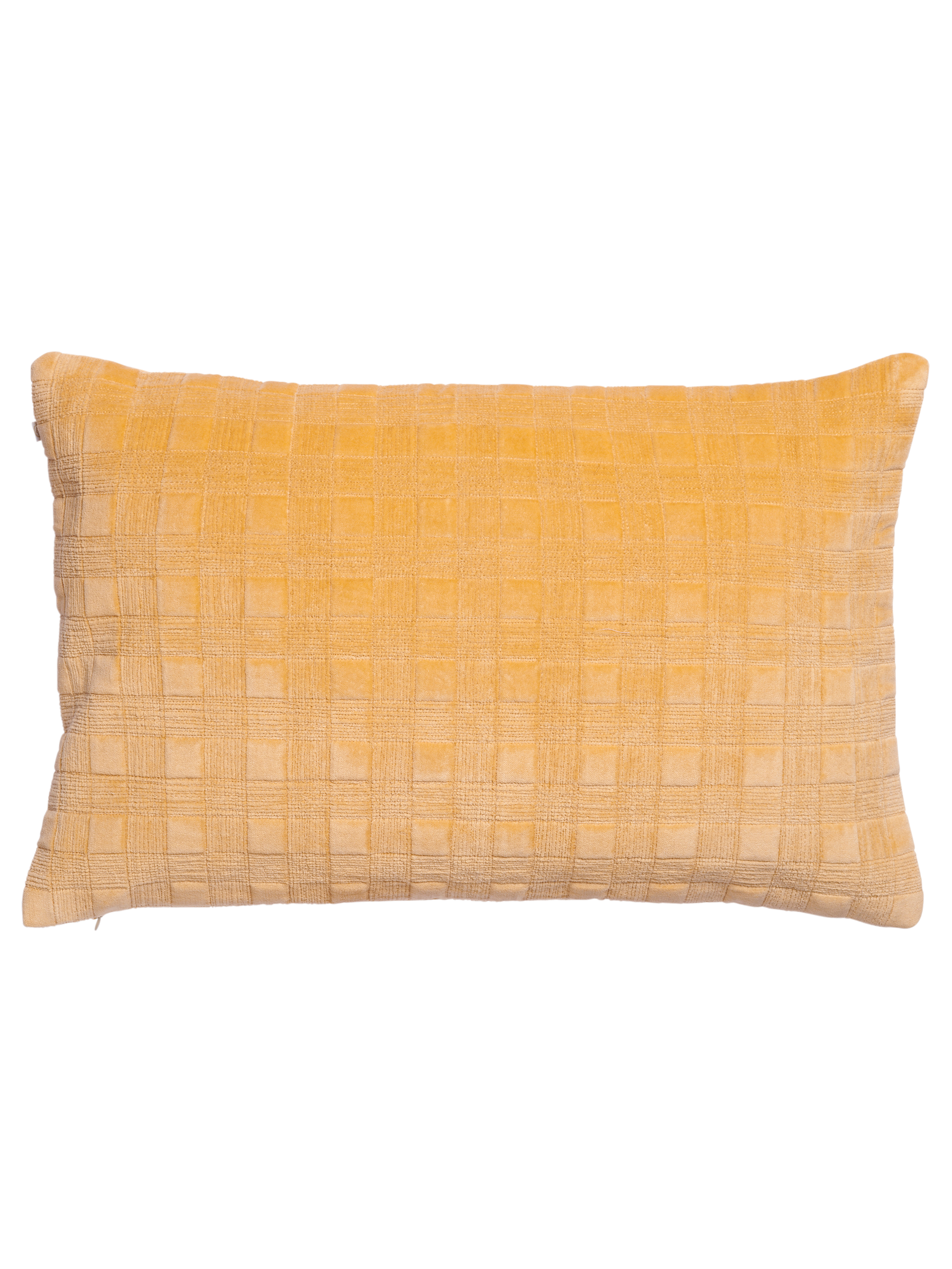 Velvet Cushion with Quilted Stitching in Ochre