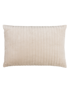 Velvet Cushion with Striped Stitching in Oyster