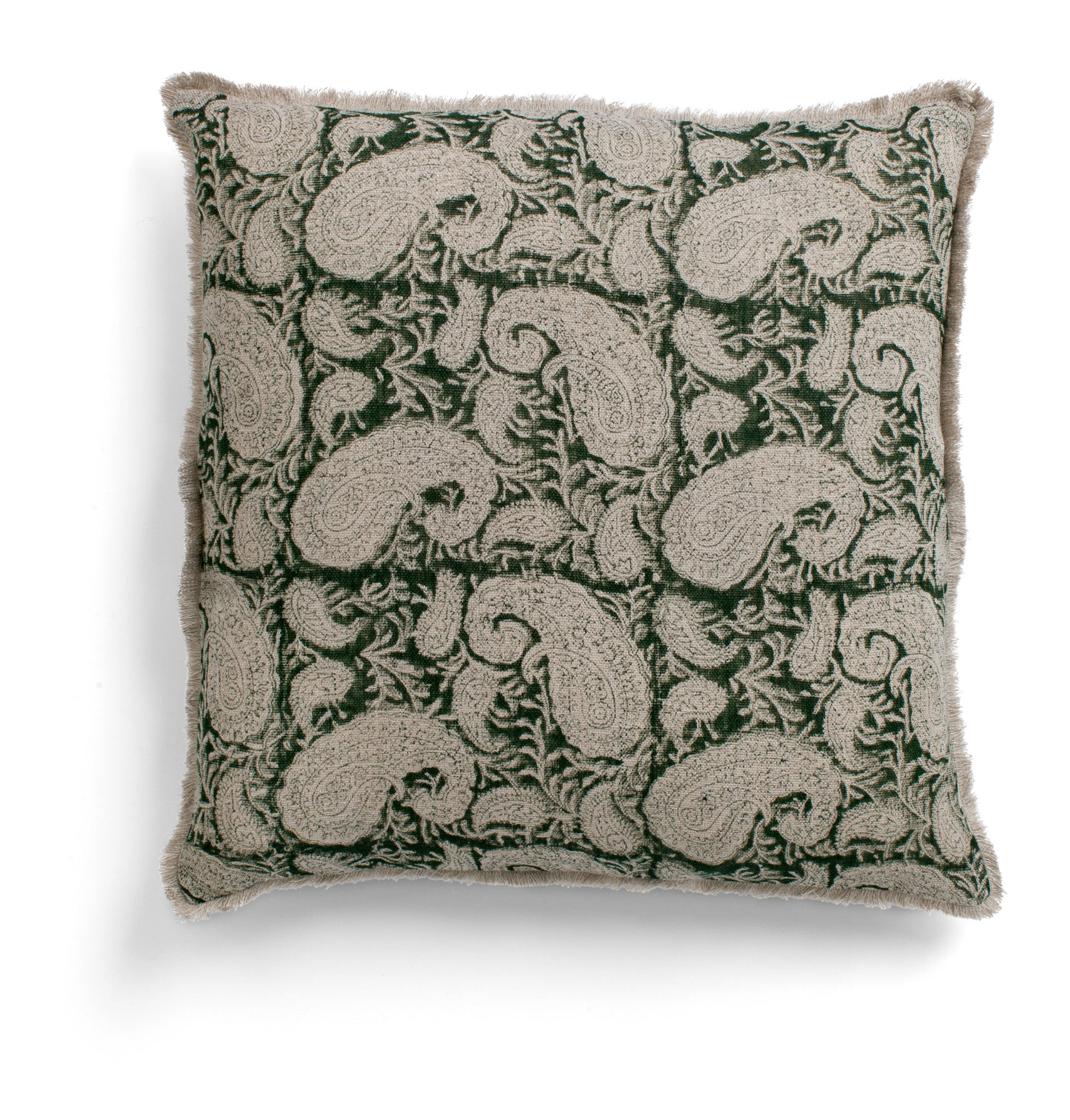 Linen cushion with Big Paisley® print in Green