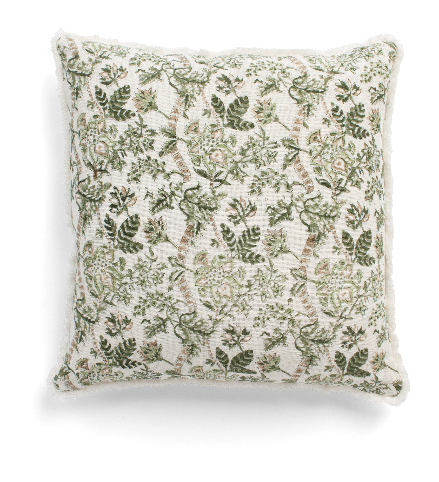 Linen cushion with Floral print in Olive
