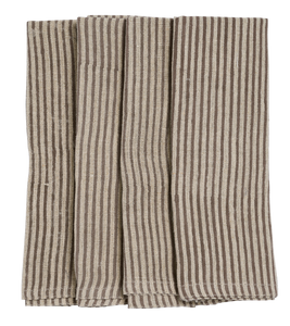 Linen Napkins with Steel Grey stripes