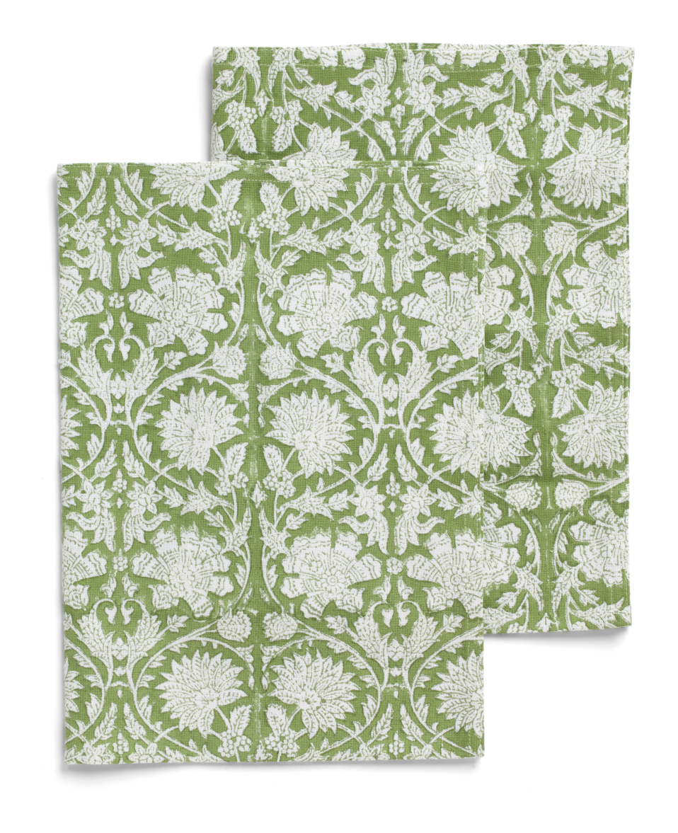 Kitchen towels with Paradise pattern in Green