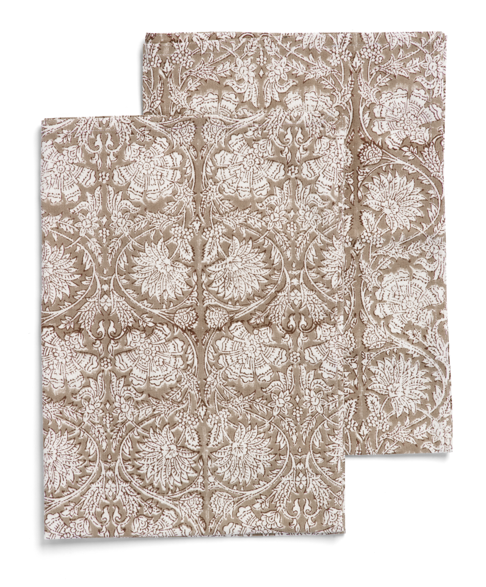 Kitchen towels with Paradise pattern in Light Brown