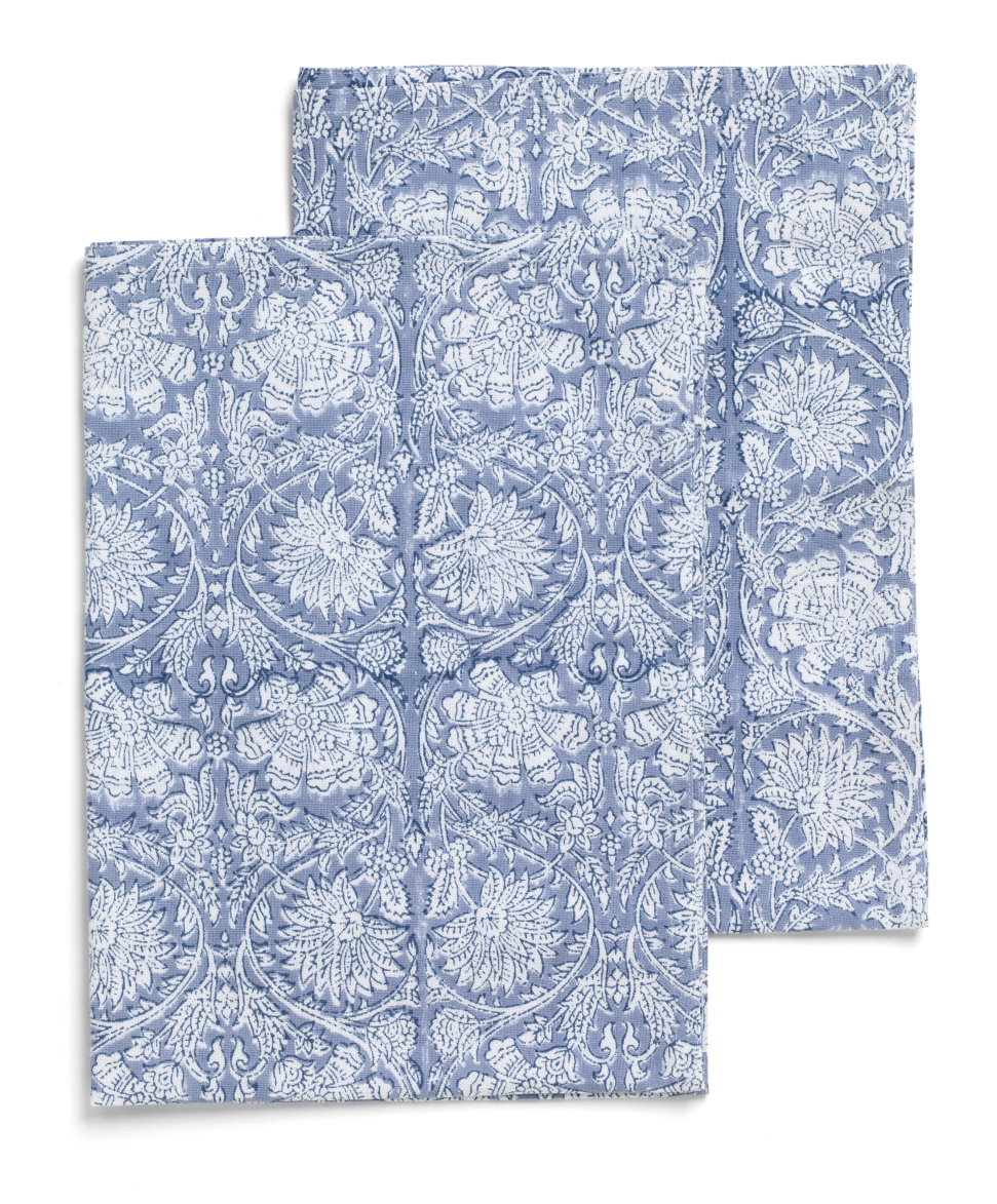 Kitchen towels with Paradise pattern in Cornflower